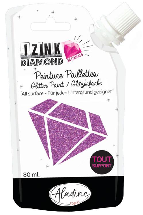 Aladine IZINK Diamond glitterverf/pasta 24 karaat- 80 ml, hardroze