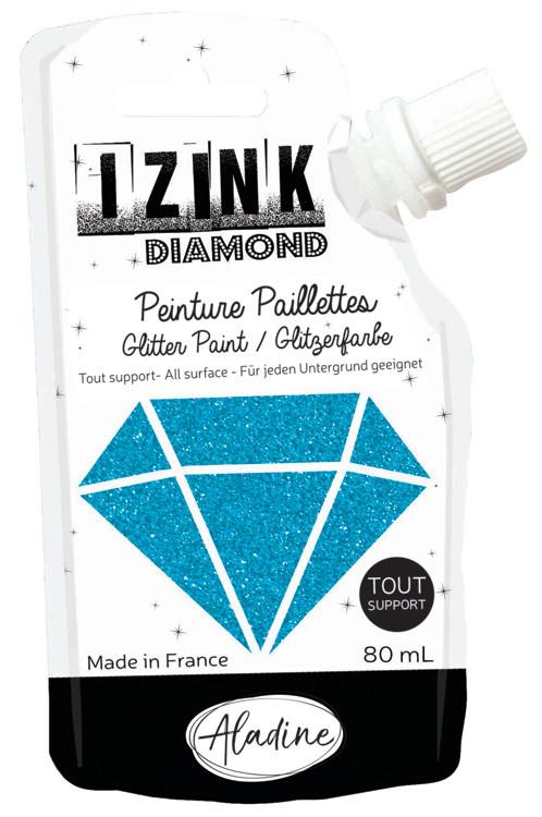 Aladine IZINK Diamond glitterverf/pasta - 80 ml, oceaanblauw