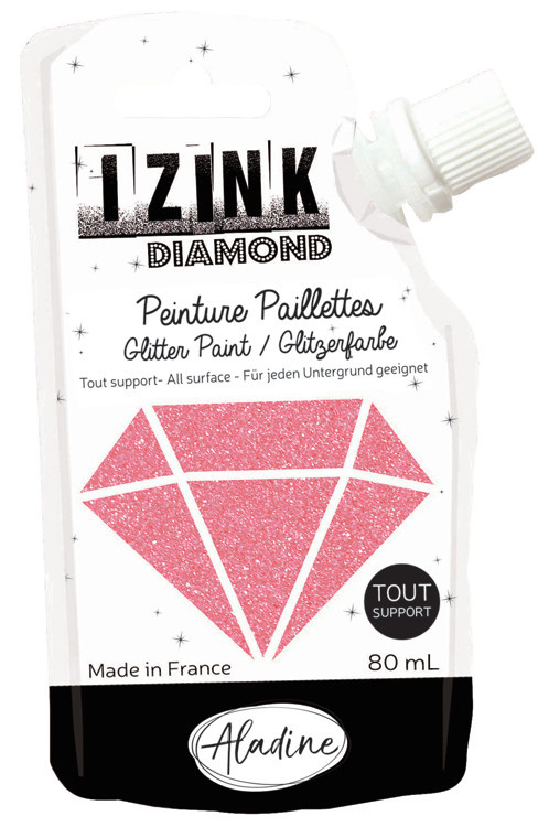 Aladine IZINK Diamond glitterverf/pasta - 80 ml, koraal