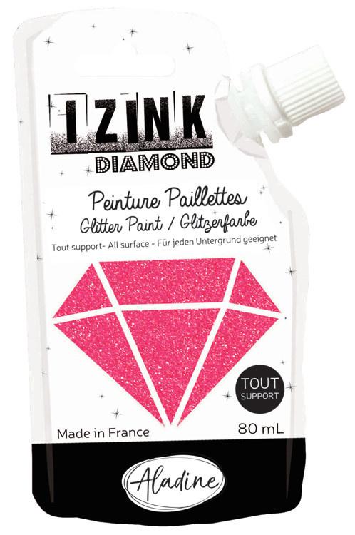 Aladine IZINK Diamond glitterverf/pasta - 80 ml, hardroze