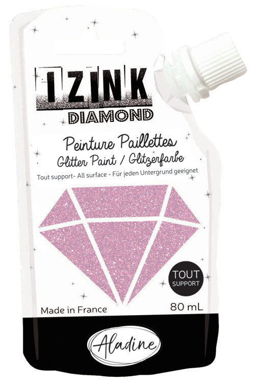 Aladine IZINK Diamond glitterverf/pasta - 80 ml, pastelroze