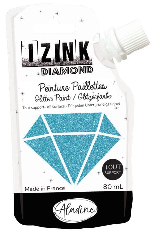 Aladine IZINK Diamond glitterverf/pasta - 80 ml, hemelsblauw