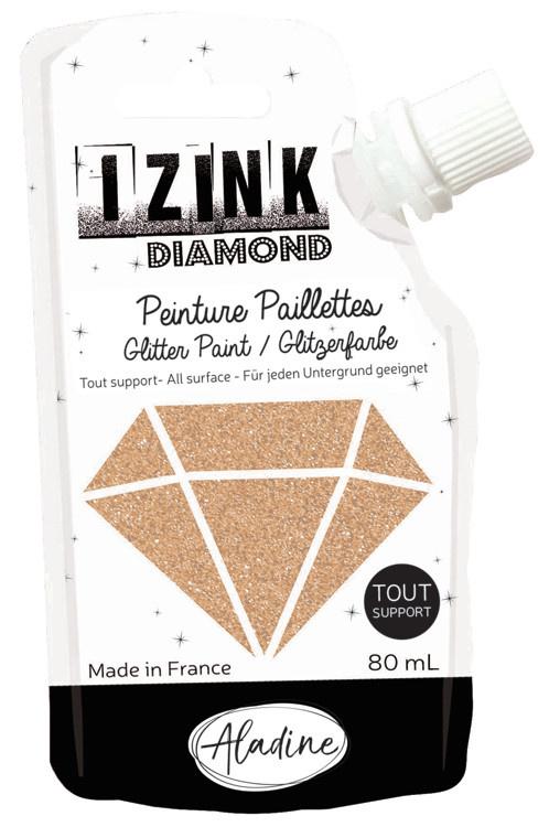 Aladine IZINK Diamond glitterverf/pasta - 80 ml, lichtgoud