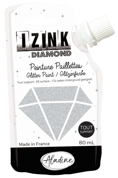 Aladine IZINK Diamond glitterverf/pasta - 80 ml, zilver