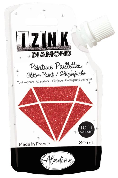 Aladine IZINK Diamond glitterverf/pasta - 80 ml, rood