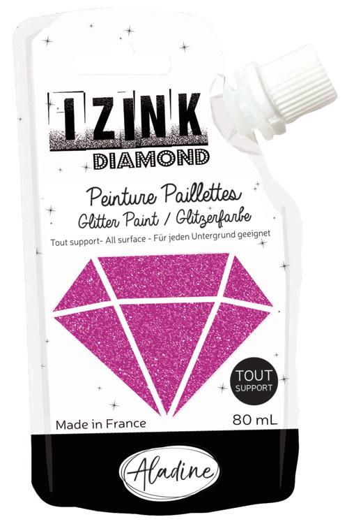 Aladine IZINK Diamond glitterverf/pasta - 80 ml, fuchsia