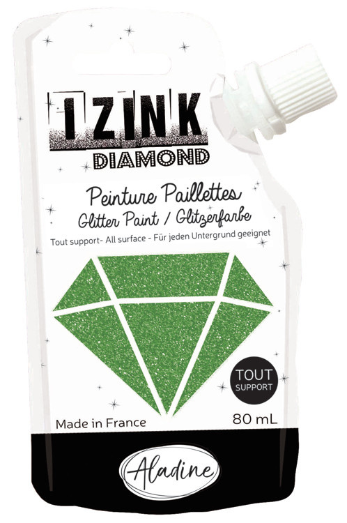 Aladine IZINK Diamond glitterverf/pasta - 80 ml, groen