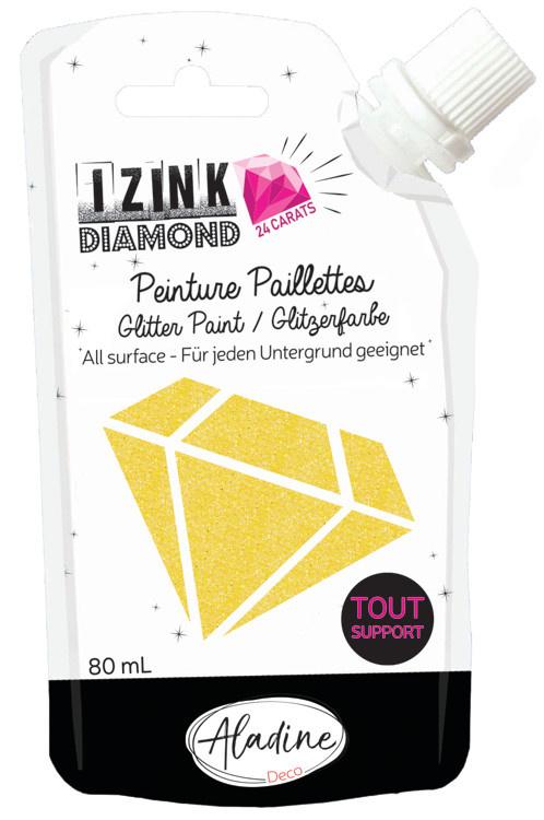 Aladine IZINK Diamond glitterverf/pasta 24 karaat- 80 ml, geel