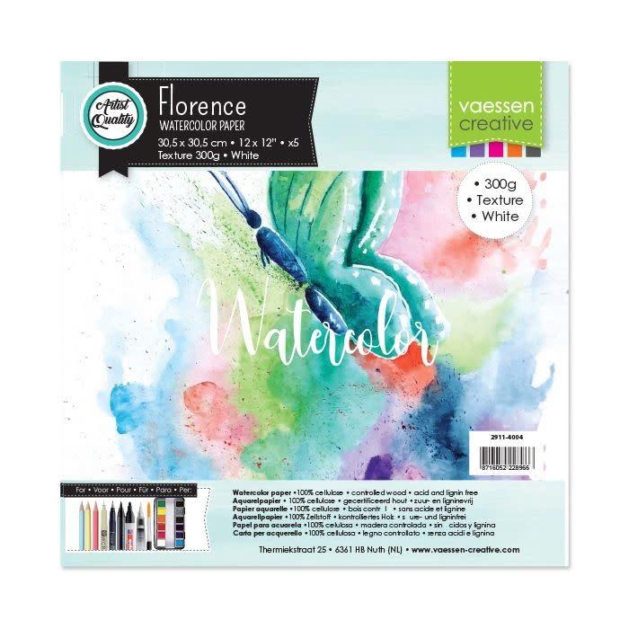 Florence Florence • Aquarelpapier 30,5x30,5cm texture White 300gr 5vellen