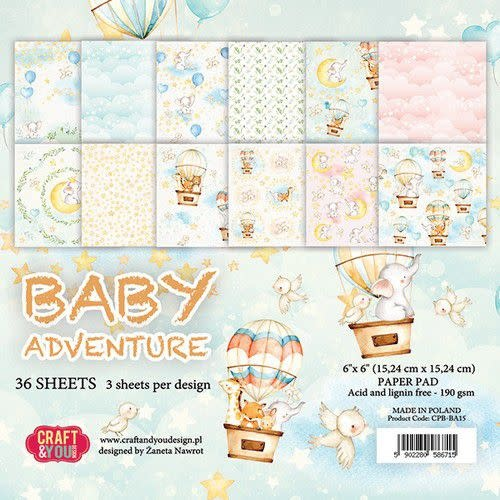 """Craft&You Craft&You Baby Adventure Small Paper Pad 6x6"""" 36 vel"""