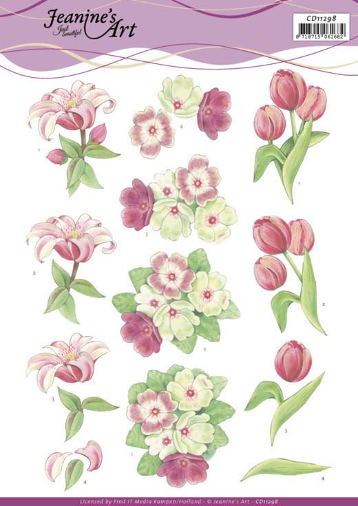 Jeanine's art 3D Cutting Sheet - Jeanine's Art - Red Flowers