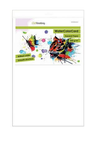 CraftEmotions CraftEmotions WaterColorCard - briljant wit 10 vl 32 x 46cm - 350 gr
