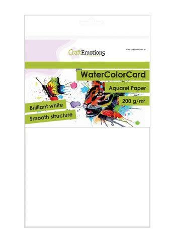 CraftEmotions CraftEmotions WaterColorCard - briljant wit 10 vl A5 - 200 gr (08-20)