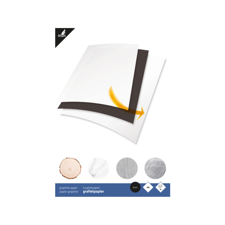 Kangaro Grafietpapier Kangaro zwart A4, 8 vel, 50grams