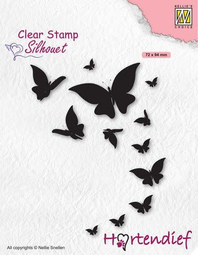 Nellie's choice Nellies Choice Clearstamp - Silhouette Pets - Vlinders SIL094