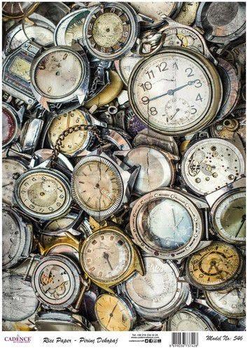 Cadence Cadence rijstpapier oude horloges Model No: 546 30x42cm