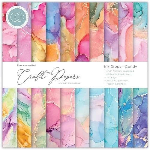 Craft consortium Craft Consortium Essential Craft Papers 6x6 Inch Paper Pad Ink Drops Candy