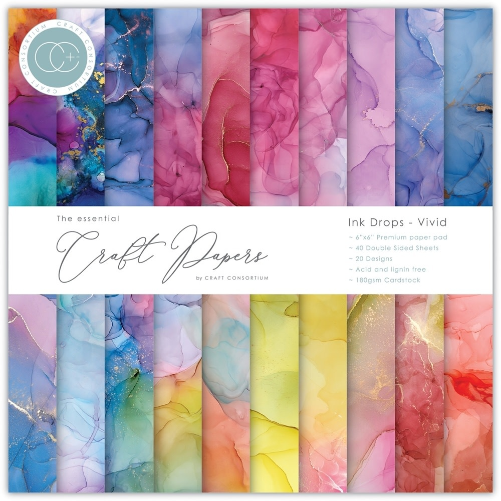 Craft Consortium Essential Craft Papers 6x6 Inch Paper Pad Ink Drops Vivid