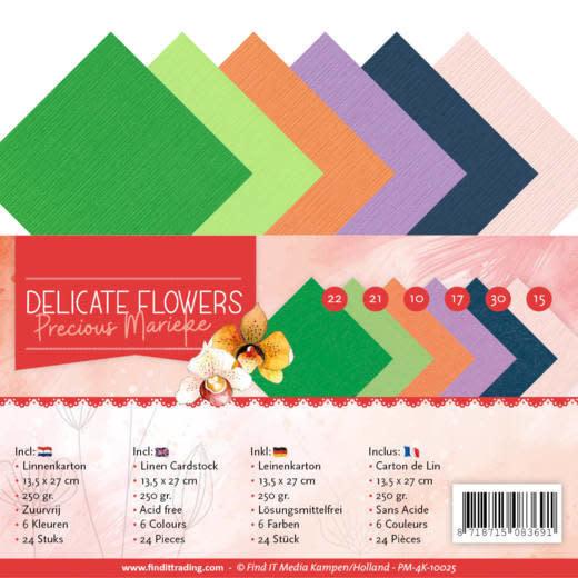 Yvonne creations Linen Cardstockset Pack - 4K - Precious Marieke Delicate Flowers Omschrijving