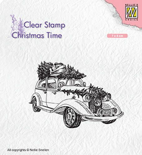 Nellie's choice Nellies Choice Clearstempel - Christmas time kerstboom op oldtimer CT031 70x50mm