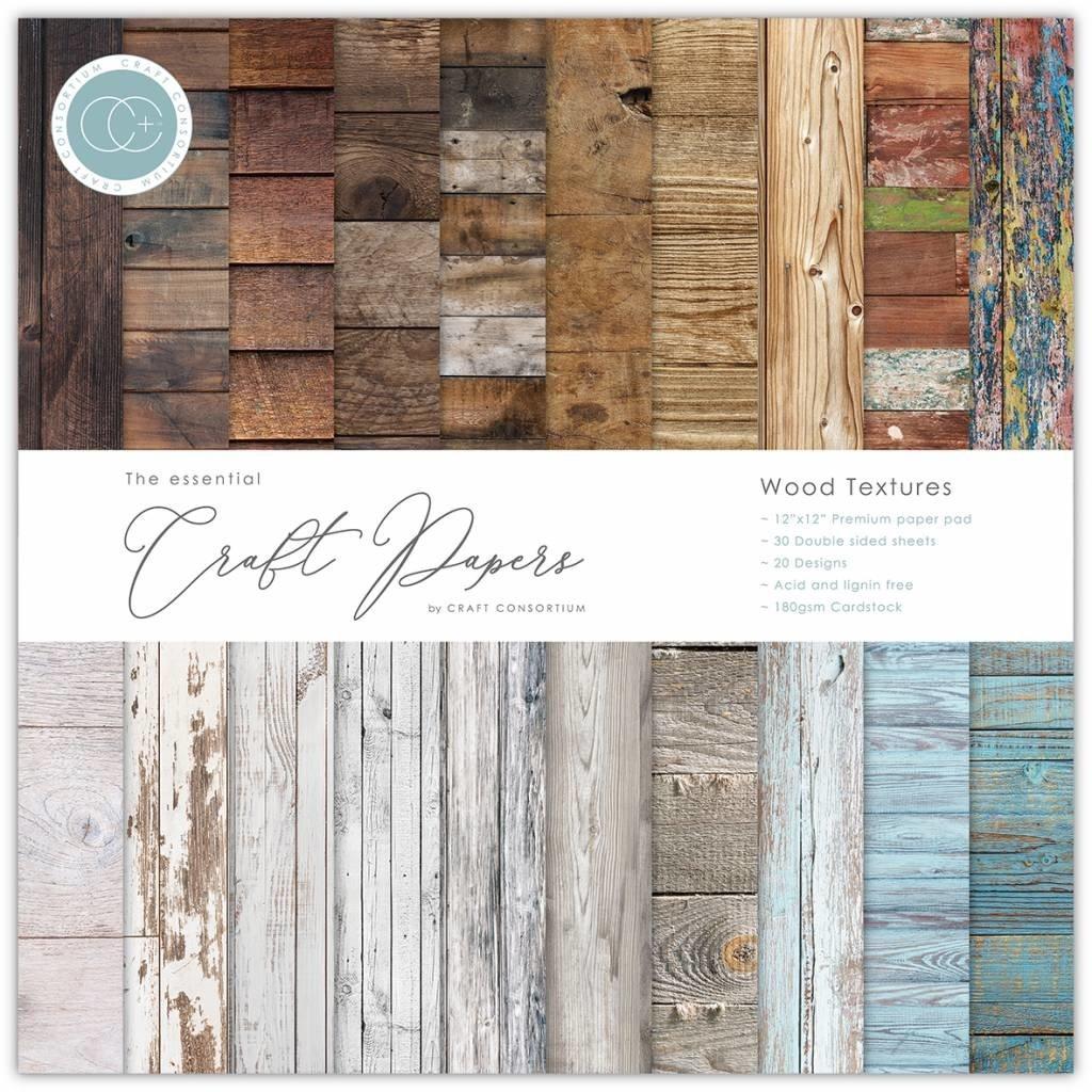 Craft consortium Craft Consortium Essential Craft Papers 6x6 Inch Paper Pad Wood Textures (CCEPAD001B)