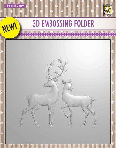 Nellies Choice 3D Emb. folder rendier EF3D008 150x150mm