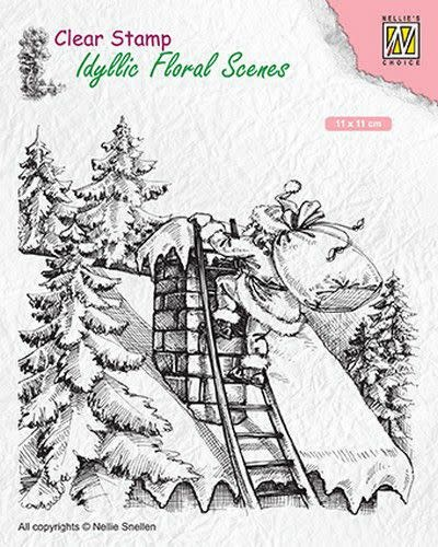Nellie's choice Nellies Choice clearstamp - Idyllic Floral Scenes Santa at work IFS018 110x110mm