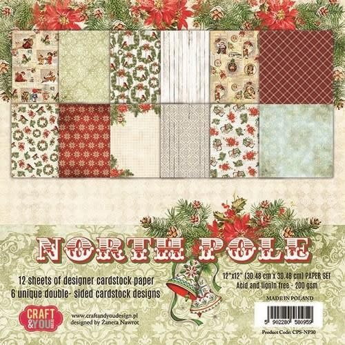 Craft&You Craft&You North Pole BIG Paper Set 12x12 12 vel CPS-NP30