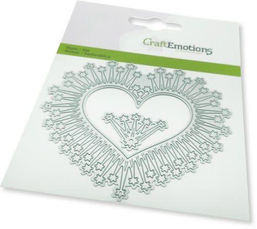 CraftEmotions CraftEmotions Die - border hart magic stars Card 11x9cm