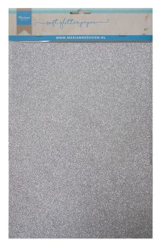 Marianne D Marianne D Decoratie Soft Glitter papier 5vl - Zilver CA3142 A4