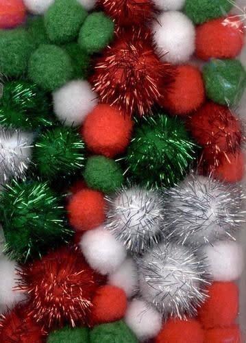 Mix PomPom Set kerstkleuren incl glitter 50 ST 2, 2.5, 3.5cm