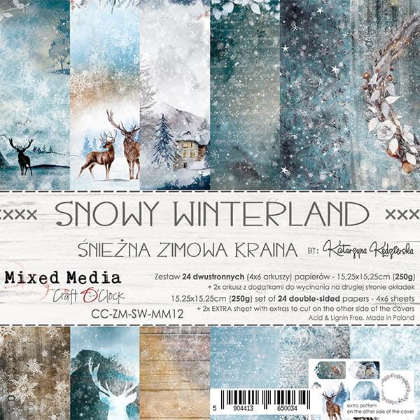 craftoclock SNOWY WINTERLAND - EEN SET PAPIER 15,25X15,25CM