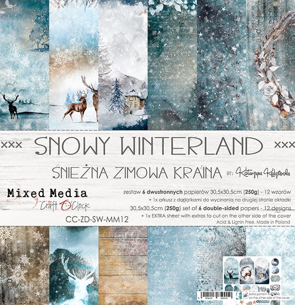 craftoclock SNOWY WINTERLAND - EEN SET PAPIEREN 30,5 X 30,5 CM
