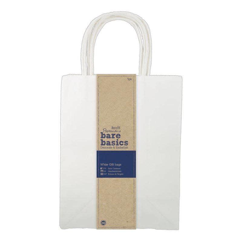 Papermania Papermania Bare Basics Large White Gift Bags (5 pcs) (PMA 174206)