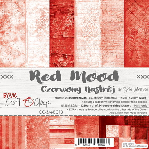 craftoclock BASIC 13 - RED MOOD - A SET OF PAPERS 15,25X15,25CM