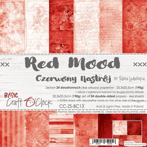 craftoclock BASIC 13 - RED MOOD - A SET OF PAPERS 20,3X20,3CM