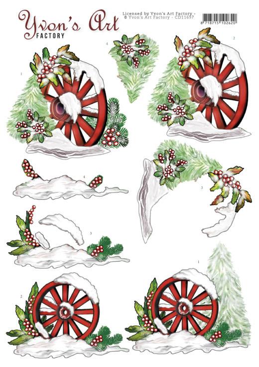 3D Cutting Sheet - Yvon's Art - Christmas Wagonwheel