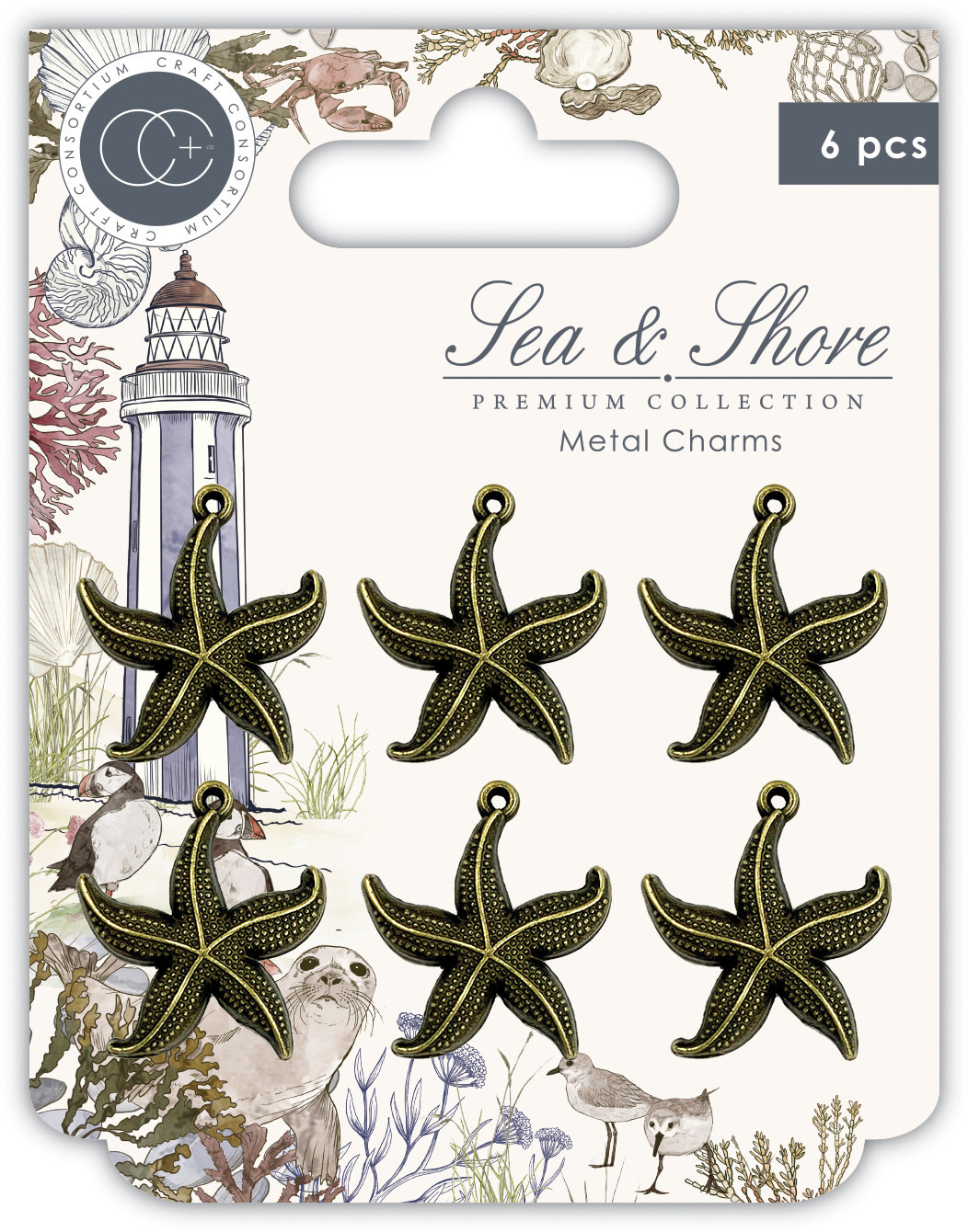 Craft consortium Craft Consortium Sea & Shore Star Fish Metal Charms (CCMCHRM025)