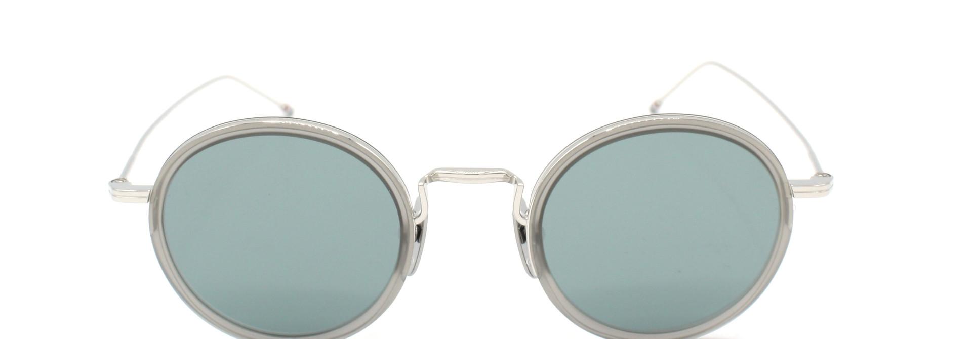 Thom Browne - TBS906-46-03 - TB-906 // Satin Crystal Grey - Silver w/ Dark Grey - Silver Flash Mirror AR