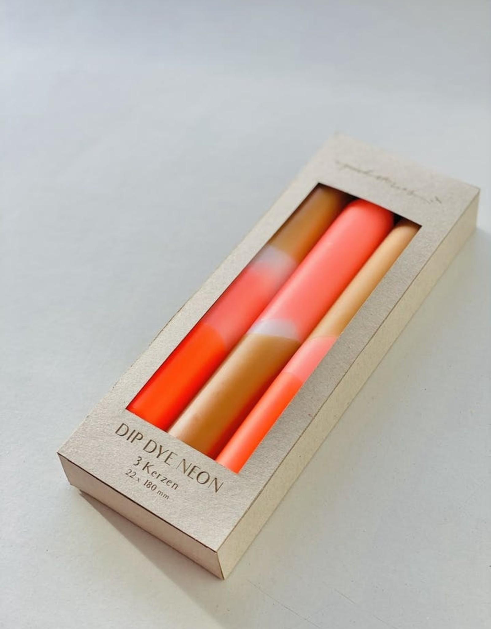 Pink Stories Dip Dye Neon kaars (Vegan) - Papaya Sand
