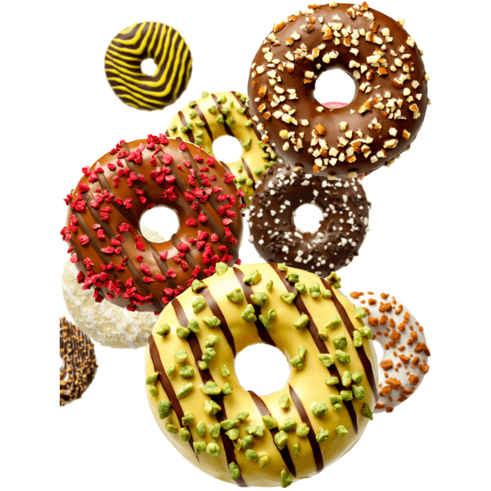 donut worry be happy DONUT PISTACHEVULLING & CHOCOLADELIJNEN