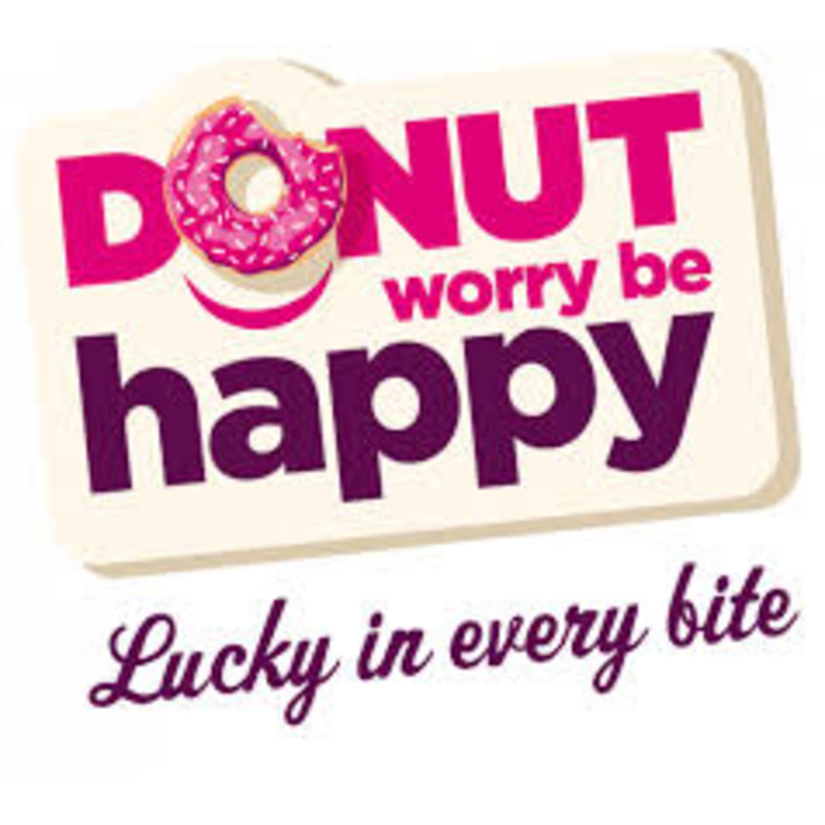 donut worry be happy DONUT ROMIGE VULLING MET KOKOSSCHILFERS