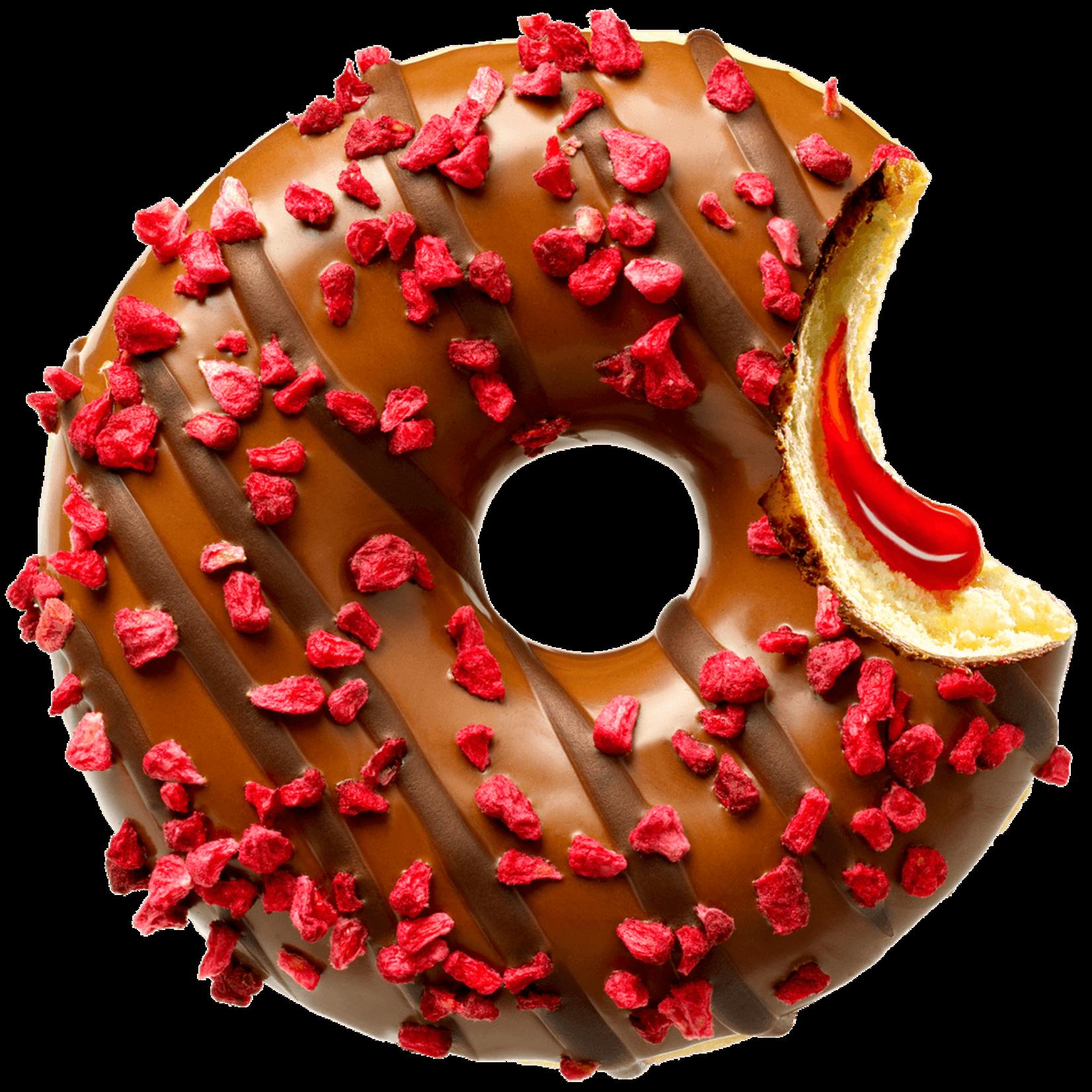 donut worry be happy FRAMBOOSVULLING MET CHOCOLADE