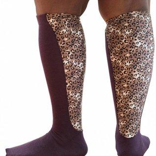 Xpandasox  Effen sokken met luipaard panel van Xpandasox