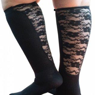 Xpandasox  Effen sokken met kanten panel van Xpandasox