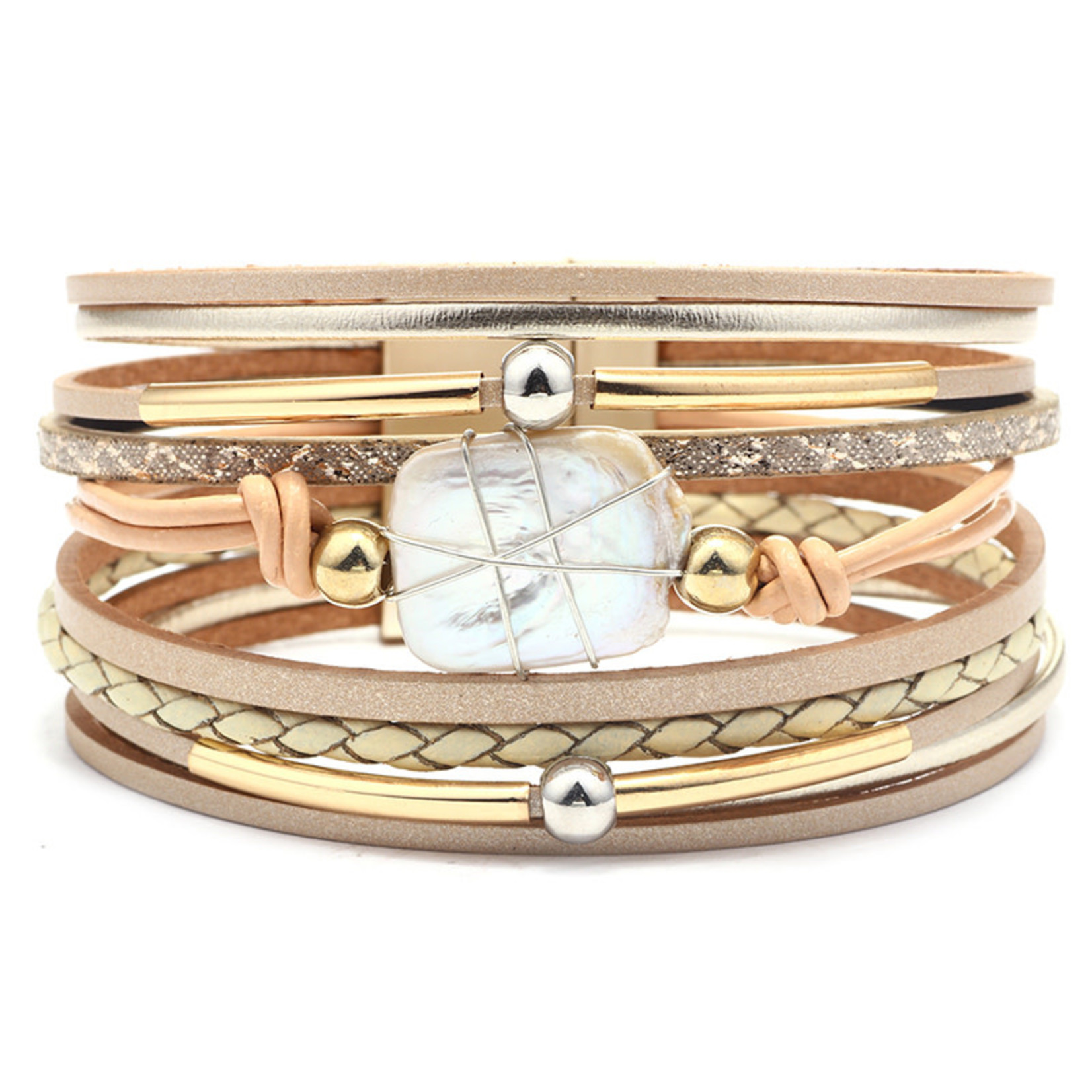 Armband met zoetwaterparel Goud
