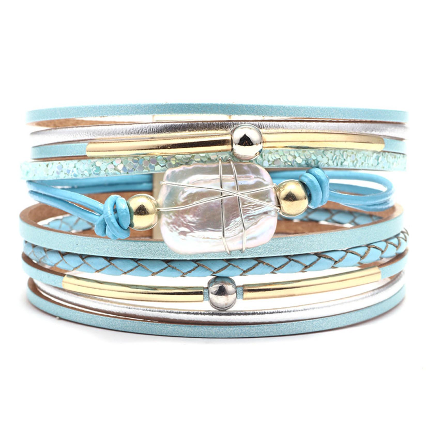 Wikkelarmband met naturursteen Lichtblauw