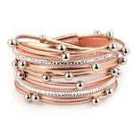 Wikkelarmband met parels Roze