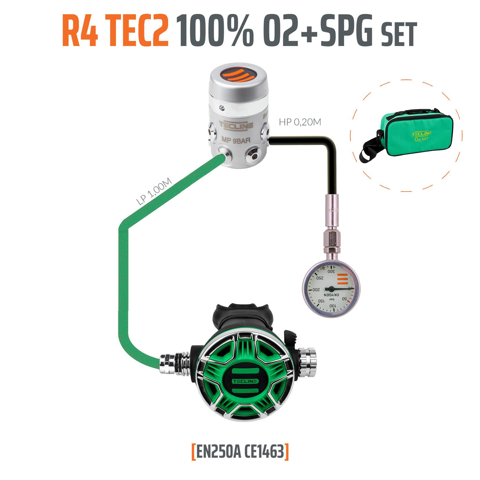 Tecline Regulator R4 TEC2 100% O2 M26x2 with SPG, stage set - EN250A