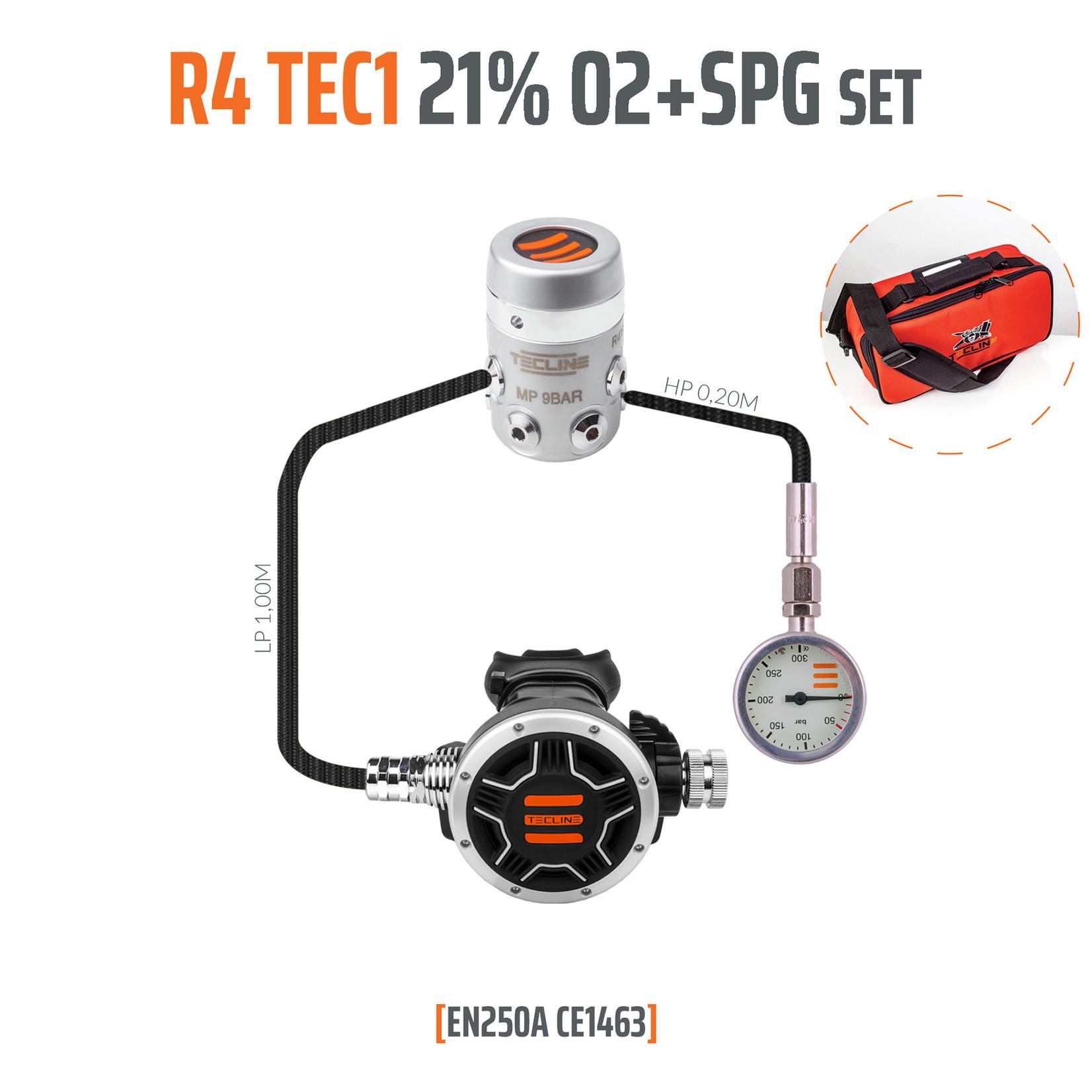 Tecline Regulator R4 TEC1 21% O2 G5/8 with SPG,  stage set - EN250A